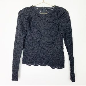 Zara Woman Lace Long Sleeved Top Small
